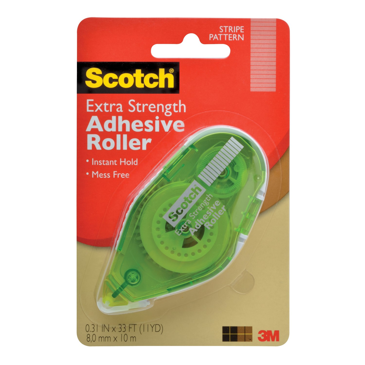 """Scotch Extra Strength Adhesive Roller, 3/8"""" x 396"""""""