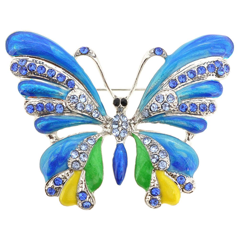 Blue Green Yellow Enamel Butterfly Brooch Pin by