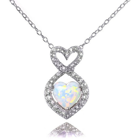 Simulated White Opal and White Topaz Sterling Silver Infinity Heart Necklace (Opal Diamond Necklace)