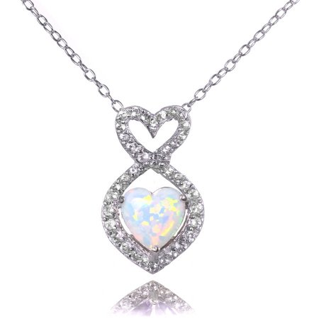 Simulated White Opal and White Topaz Sterling Silver Infinity Heart Necklace