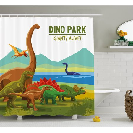 Dinosaur Shower Curtain, Flying Swimming and Land Dinosaurs with Lake and Mountains Dino Park Alive Theme, Fabric Bathroom Set with Hooks, 69W X 70L Inches, Multicolor, by (Land Of Oz Theme Park Beech Mountain)
