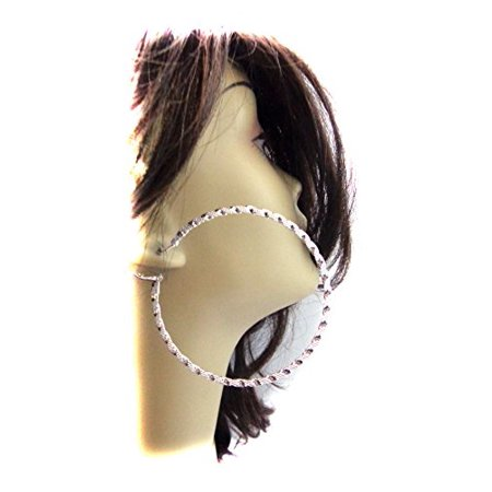 - Textured Silver Tone Hoop Earrings 2.75 inch Hoops