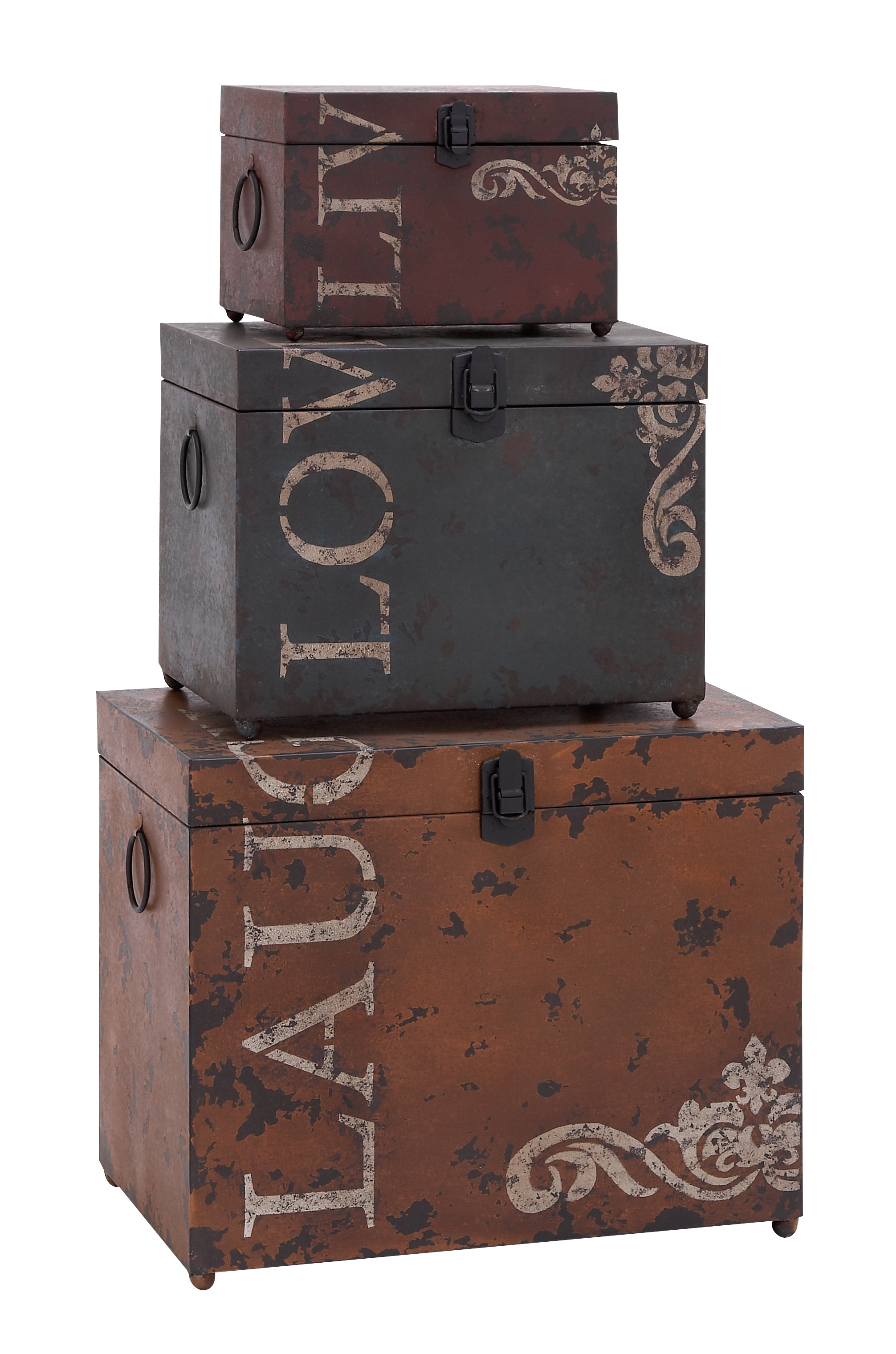 Classic Live Love Laugh Iron Storage Trunk Set