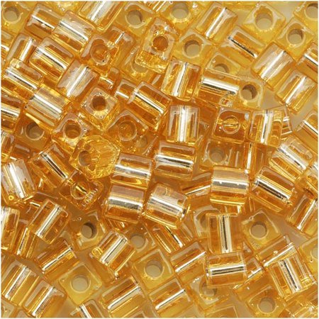 Gold Miyuki Cube (Miyuki 4mm Glass Cube Beads Silver Lined Gold #3 10)
