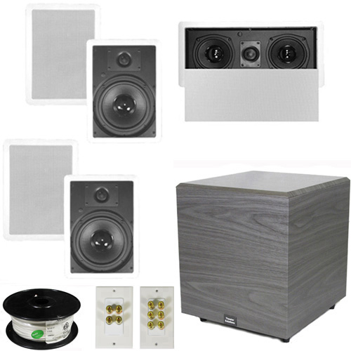 "Theater Solutions 5.1 Home Theater 8"" In Wall Speaker Set with Center, 12"" Powered Sub and More... by Theater Solutions"