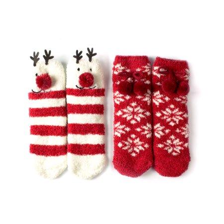 Fuzzy Red Spring Lantern - Women's Animal Fuzzy Socks Set Reindeer Gift Box Set