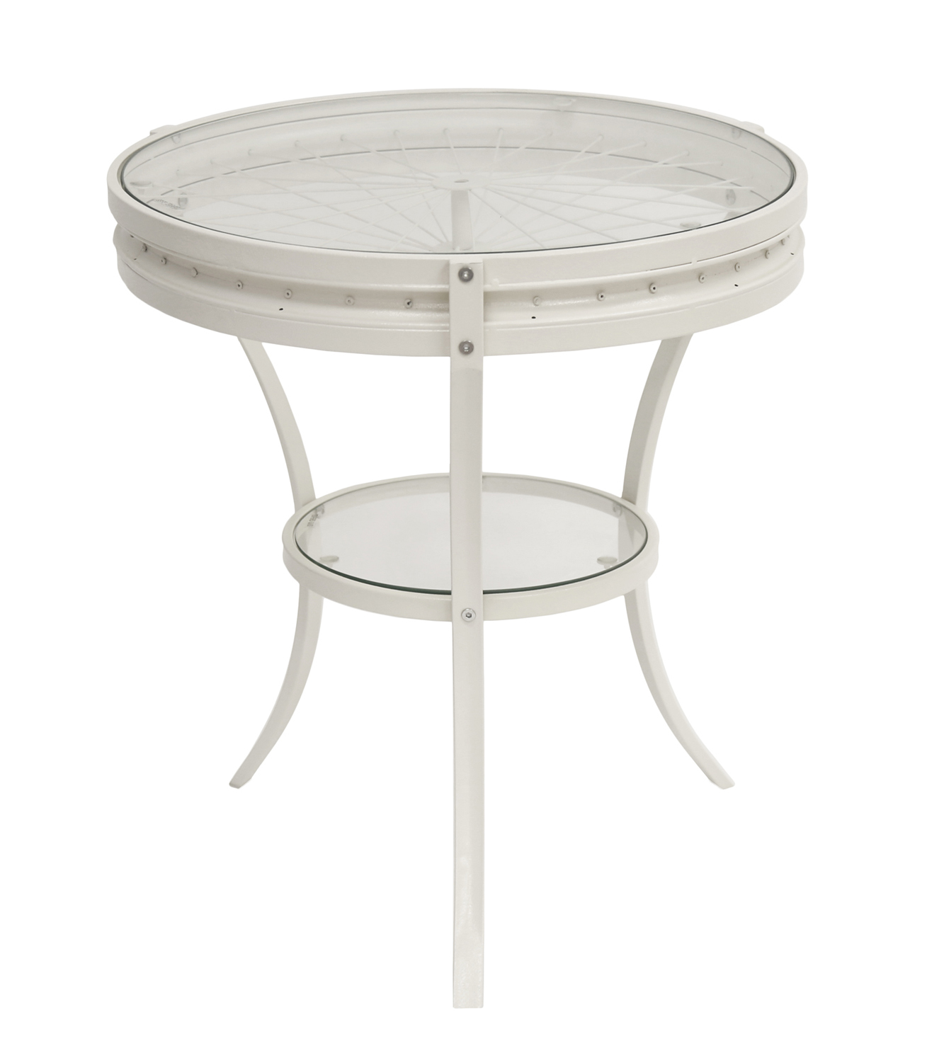 "20"" Accent Table with Tempered Glass, Antique White by Monarch Specialties"