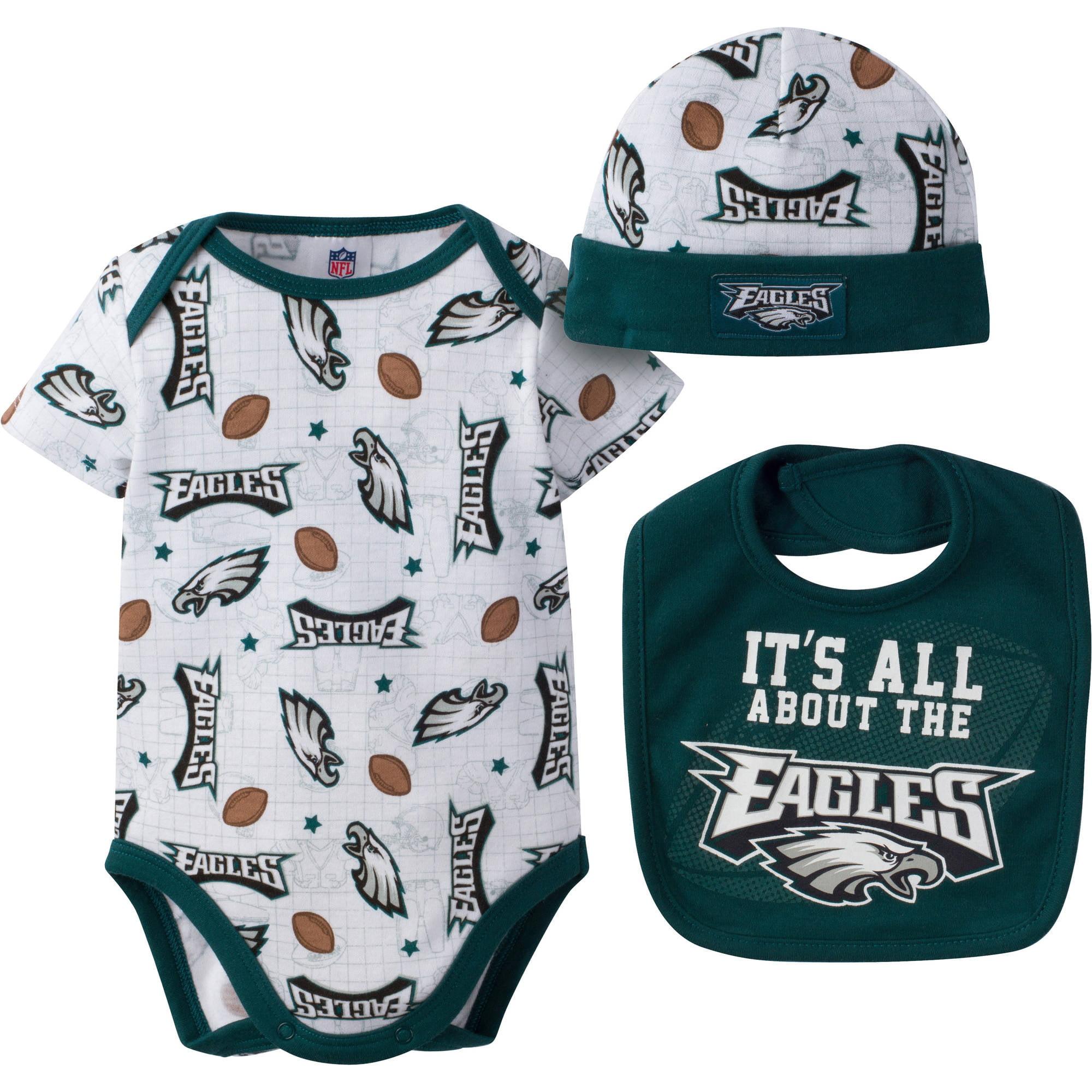 huge selection of 3e67e 8ed5b NFL Philadelphia Eagles Baby Boys Bodysuit, Bib and Cap Outfit Set, 3-Piece