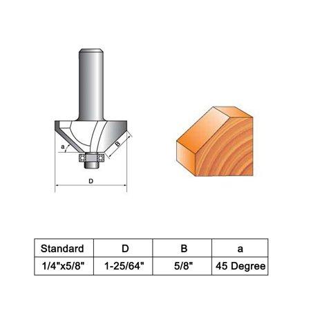 "5/8"" Cutting Length 1/4"" Shank Carbide 45 Degree Chamfer Router Bit - image 1 de 6"