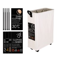 Large Collapsible Oxford Cloth Laundry Basket Bin Mesh Drawstring Dirty Clothes Hamper with Handles 4 Support Rods 4 Universal Wheels 6 Sort Cards
