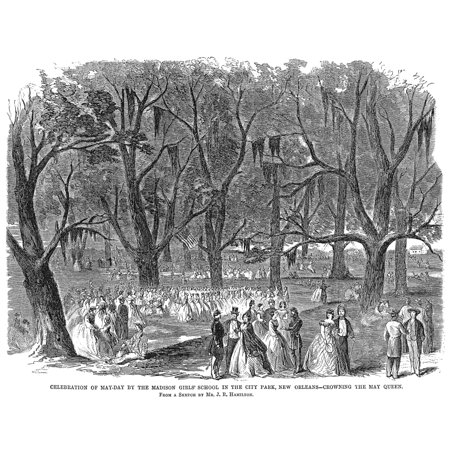 New Orleans City Park Na May Day Celebration At City Park Wood Engraving American 1863 Rolled Canvas Art -  (24 x 36) - Halloween City Park New Orleans