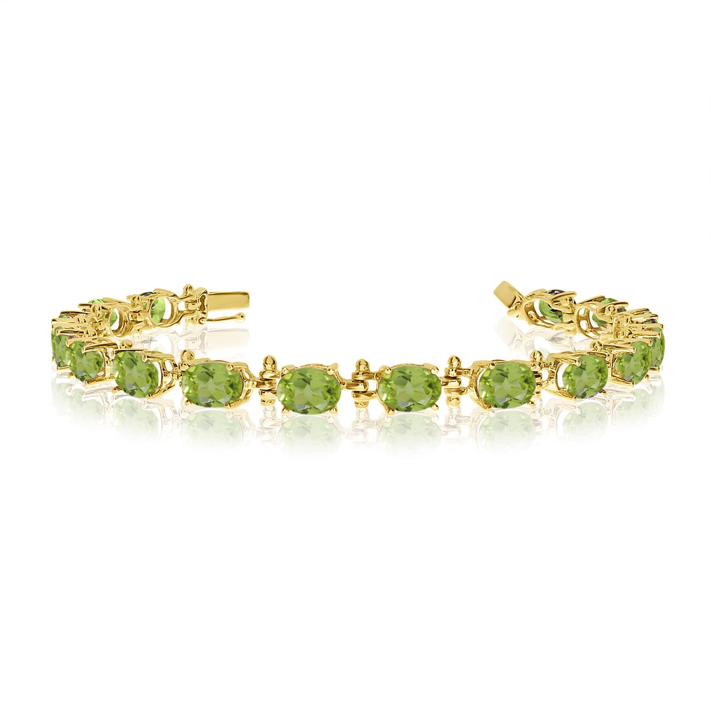 14K Yellow Gold Oval Peridot Tennis Bracelet by
