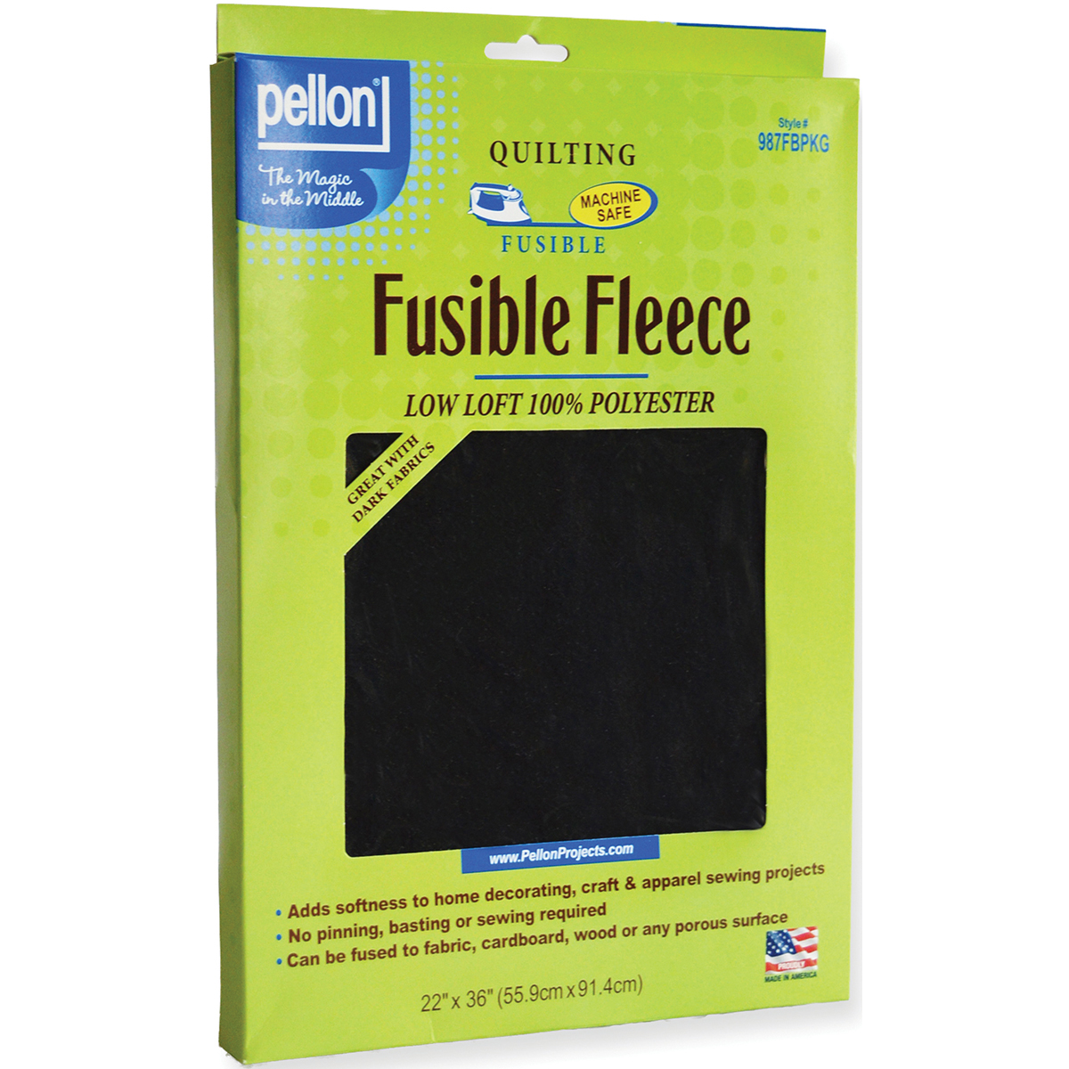 "Fusible Fleece, 22"" x 36"", Black"