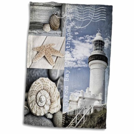 3dRose Mixed Media Collage Of Byron Bay Lighthouse And Shells - Towel, 15 by 22-inch