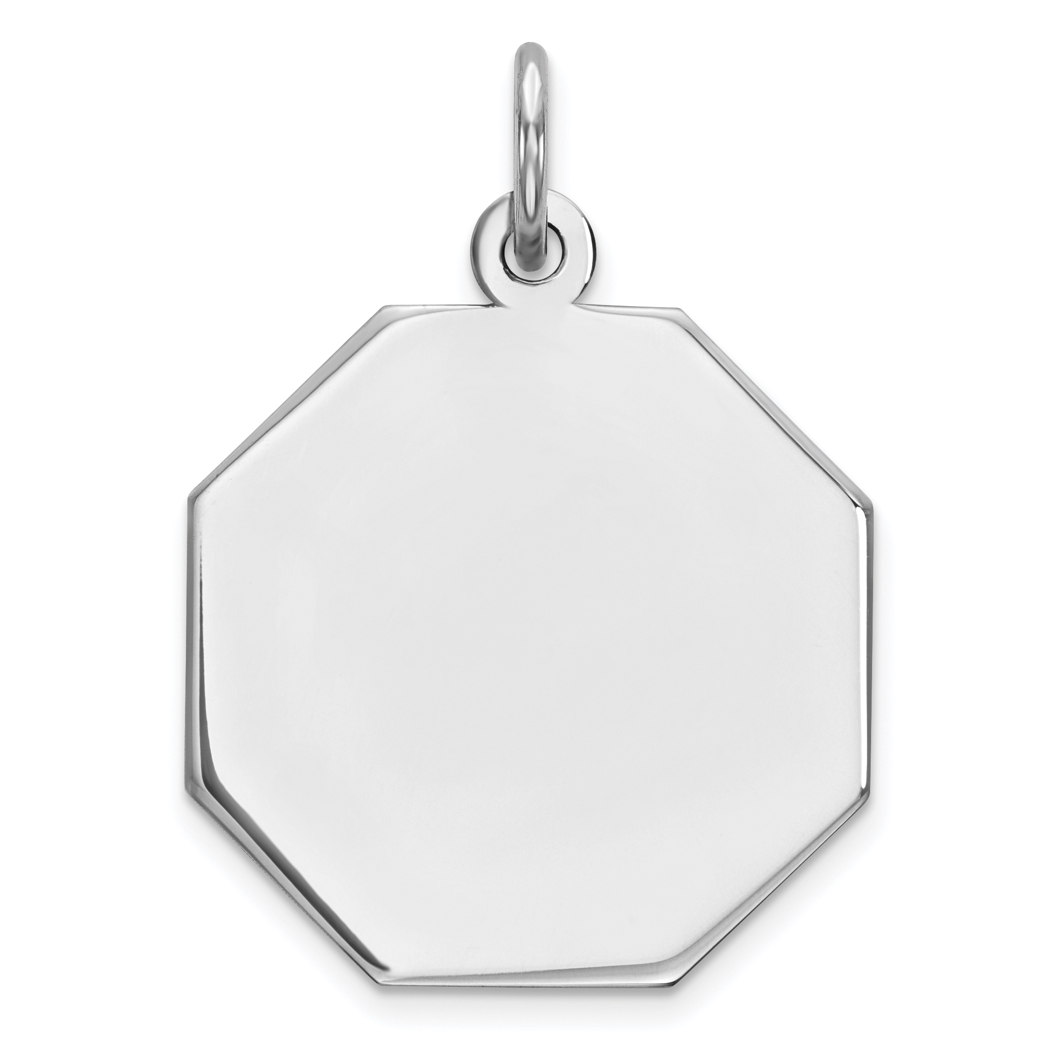 925 Sterling Silver Rh Plt Engraveable Octagon Front Back Disc Pendant Charm Necklace Engravable Octagonal Fine Jewelry Gifts For Women For Her - image 2 de 2