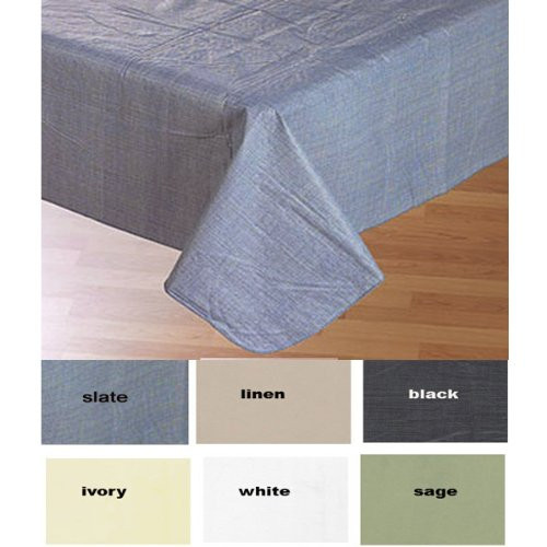 Simple Elegance By Bon Appetit Solid Color Vinyl Tablecloth With Polyester  Flannel Backing   Ivory Rectangle