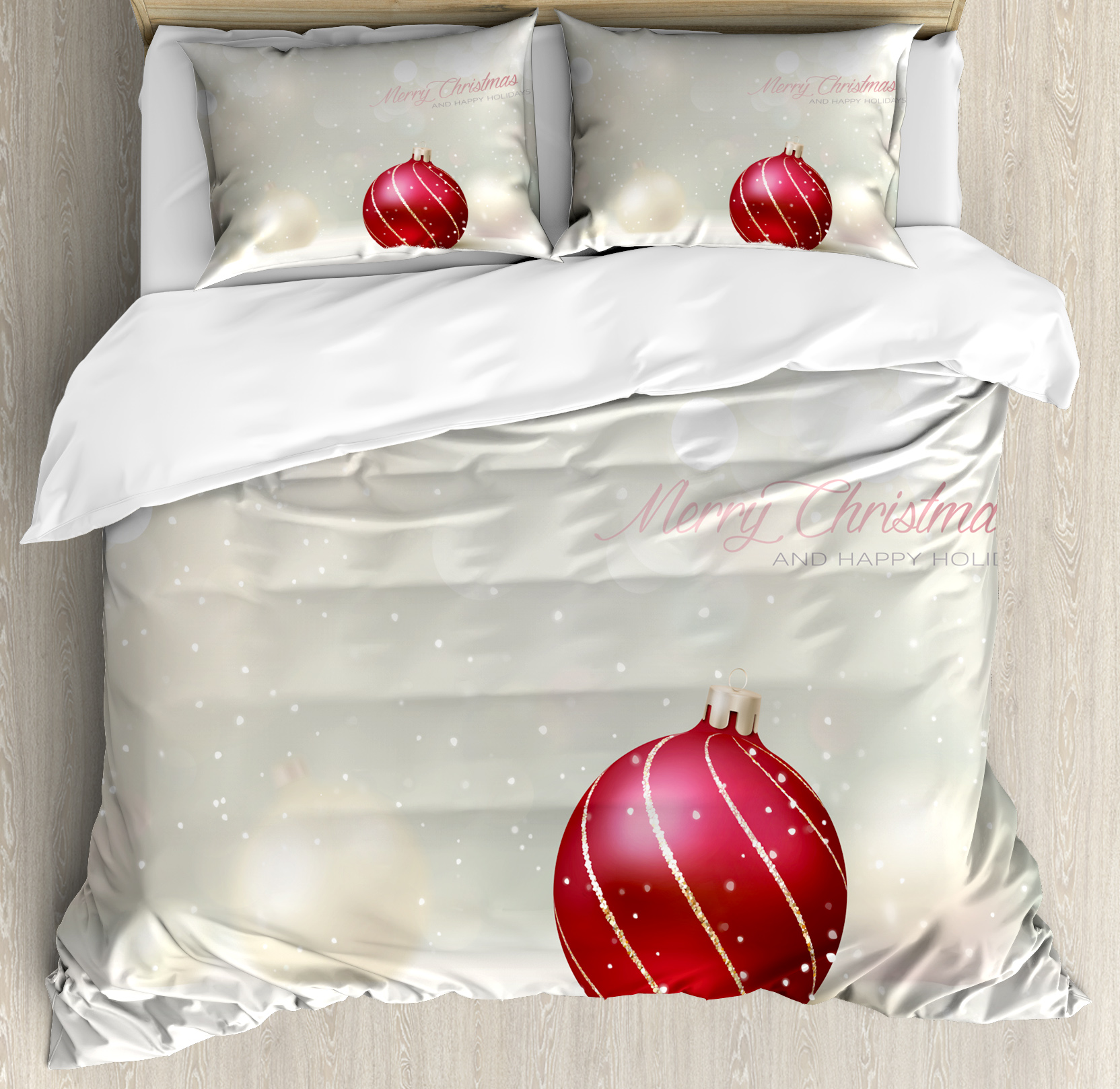 Christmas King Size Duvet Cover Set, Snow Effect Background Bauble with Curved Lines Xmas Trinket Happy Holidays, Decorative 3 Piece Bedding Set with 2 Pillow Shams, Dust Ruby Gold, by Ambesonne