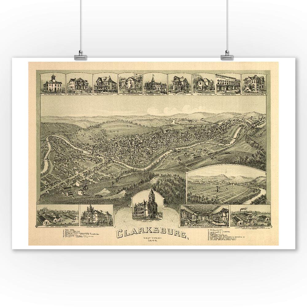 Clarksburg, West Virginia - Panoramic Map (9x12 Art Print, Wall Decor Travel Poster)