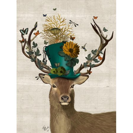 Mad Hatter Deer Eclectic Bohemian Anthropomorphic Animals Print Wall Art By Fab Funky](Bohemian Wall Art)