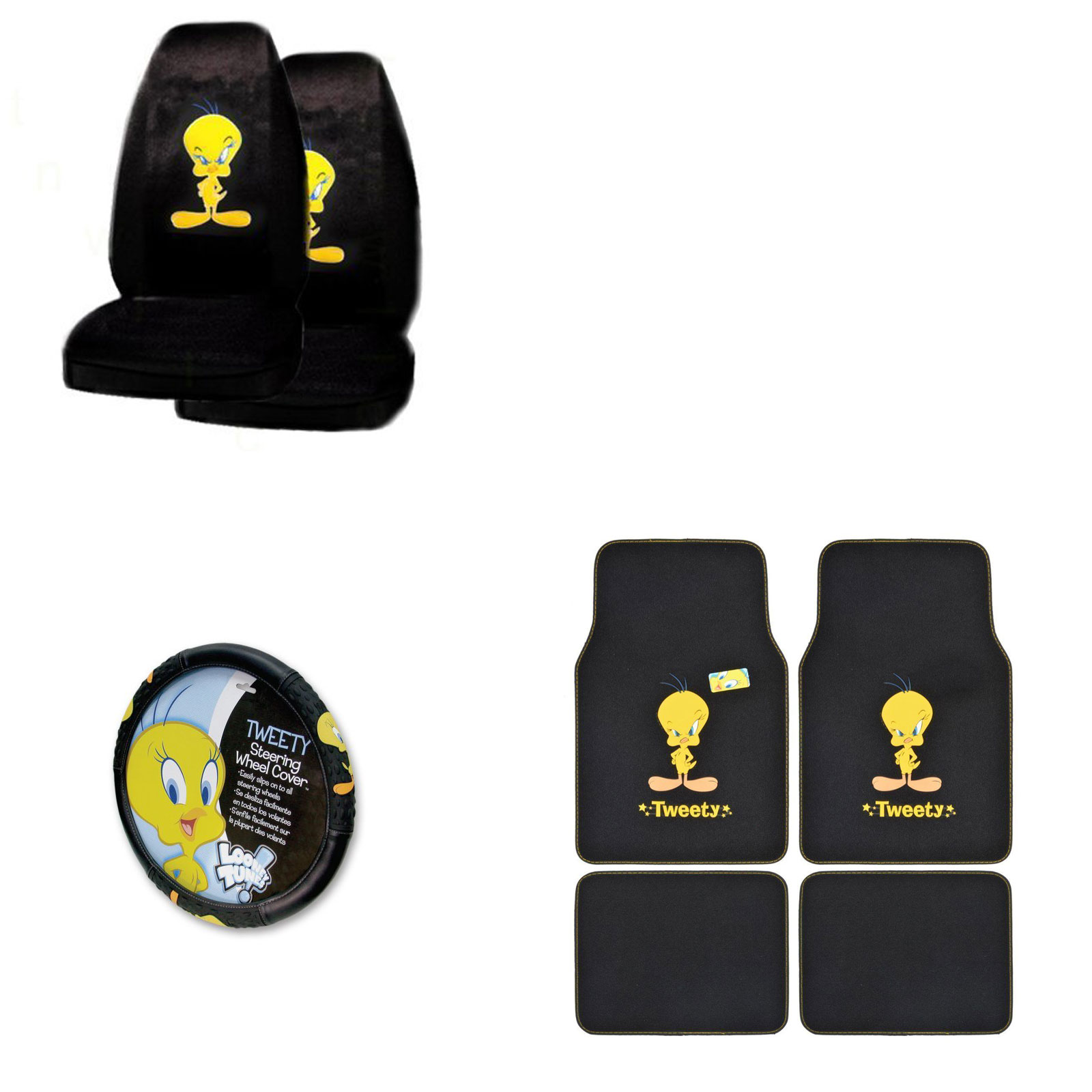 Tweety Bird 4 Pc Carpet Floor Mats And 2 Pc Seat Covers With Wheel Cover