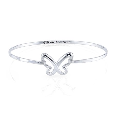 "Sterling Silver Butterfly ""You Are Beautiful"" Bangle Bracelet"