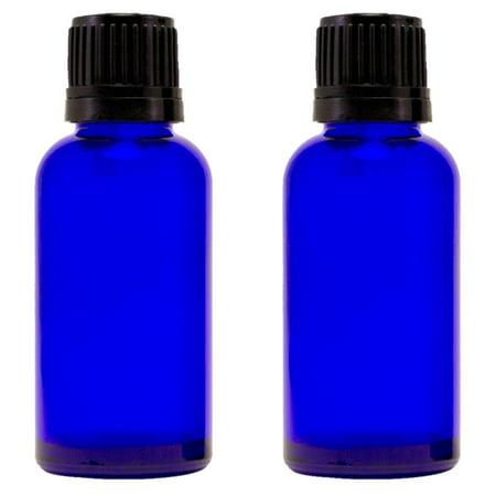 Cobalt Blue Glass Bottle - 30 ml (1 fl oz) w/ Euro Dropper & Tamper-Evident Cap - Pack of 2