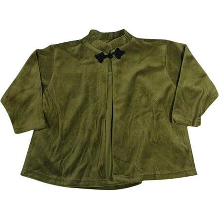 - Mulberribush - Little Girls Long Sleeve Velour Swing Jacket Olive Green / 4