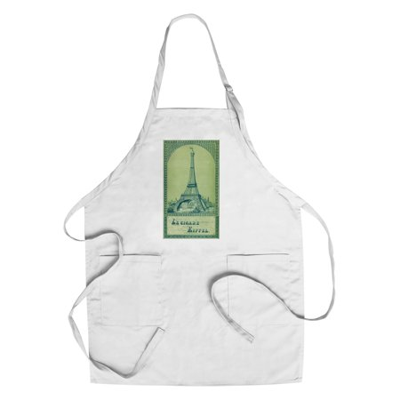 Le Cigare Eiffel Brand Cigar Box Label - View of the Eiffel Tower (Cotton/Polyester Chef's - Cigar Tower Antique