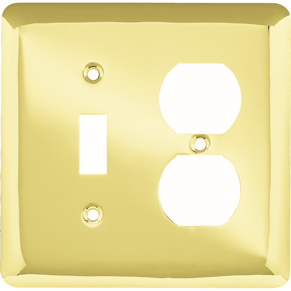 Franklin Brass Stamped Round Single Switch/Duplex Wall Plate in Polished Brass
