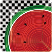 "Unique Checkered Watermelon Summer Fun 9"" Dinner Plates, Red Green Black, 8 CT"