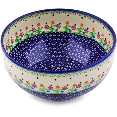 Polish Pottery 9-inch Bowl (Spring Flowers Theme) Hand Painted in Boleslawiec, Poland + Certificate of - Painted Bowls
