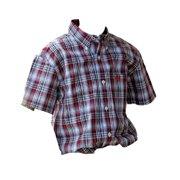 Cinch Western Shirt Boys Kids S/S Button Plaid White Blue MTW7140014