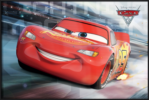 "Cars 3 Pixar   Disney Movie Poster   Print (Lightning McQueen Race) (Size: 36"" x 24"") by"