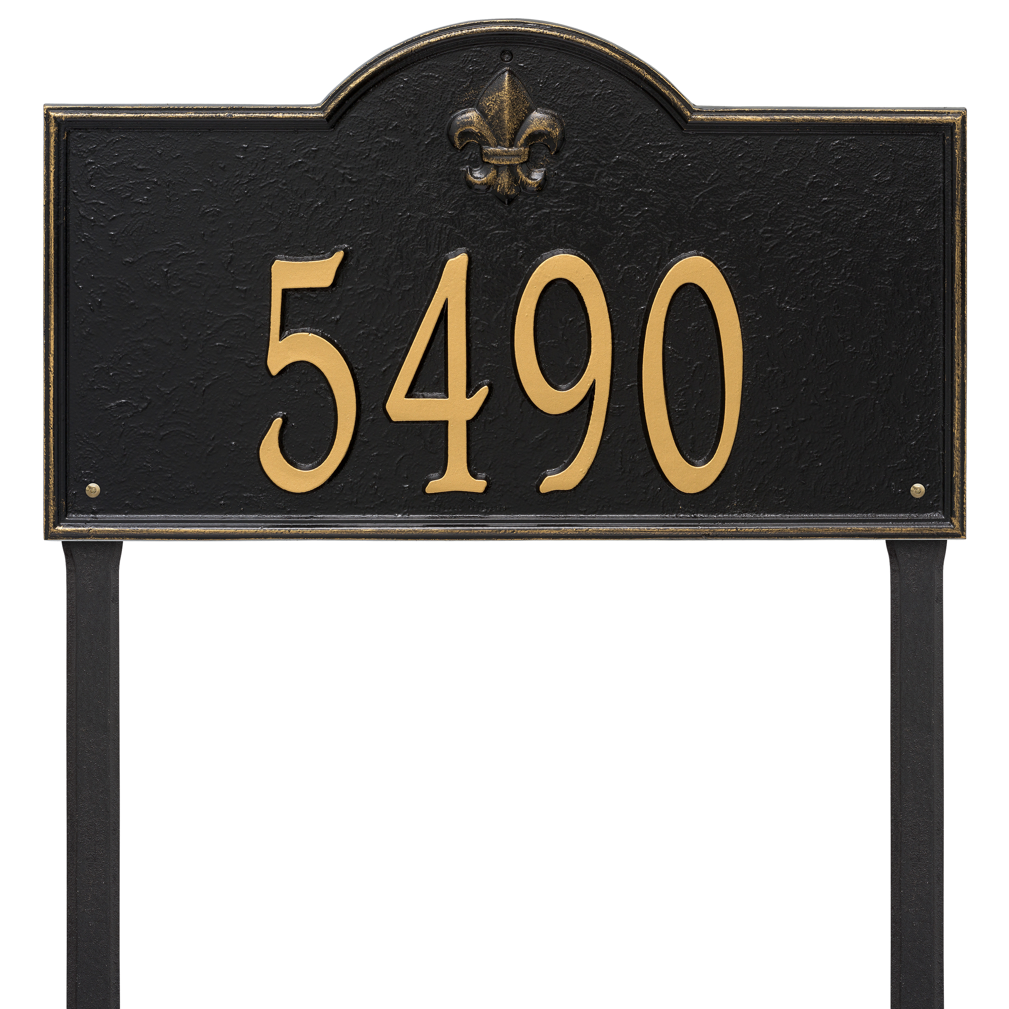 Personalized Whitehall Products Bayou Vista Estate Lawn House Numbers Plaque in Black/Gold