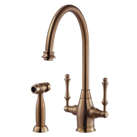 - Charleston Traditional Two Handle Kitchen Faucet with Sidespray and CeraDox Technology, Antique Copper (CRLSS-650-AC)