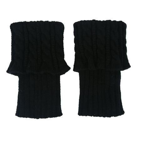 Anauto Short Boot Cuffs Knit Leg Warmer Winter Crochet Socks Button Toppers