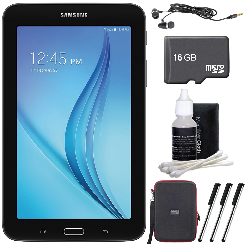 "Samsung Galaxy Tab E Lite 7.0"" 8GB (Wi-Fi) Black 16GB microSD Card Bundle includes Tablet, Memory Card, Cleaning Kit, 3 Stylus Pens, Metal Ear Buds and Hardshell Case"