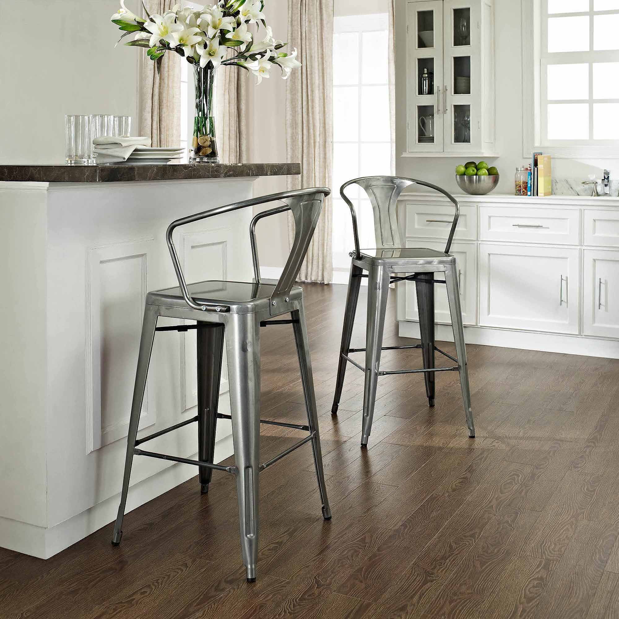 Crosley Amelia Metal Cafe Bar Stool With Back Galvanized Set Of