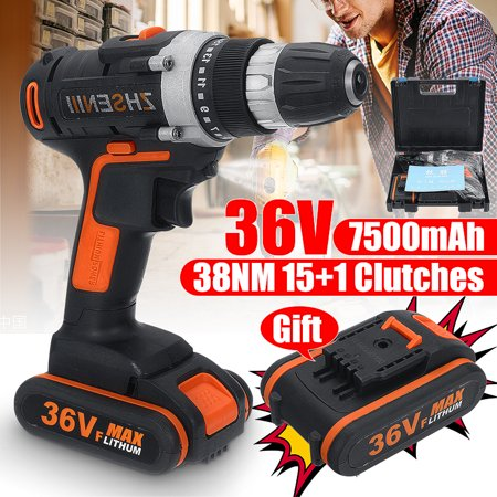 Electric Drill 0.5 Chuck (36V Cordless 15+1 Torque Rechargeable Electric Cordless Drill Impact Wrench LED Light 2 Speed 10MM Keyless Chuck  with 2Pcs/1Pc Lithium Batteries )