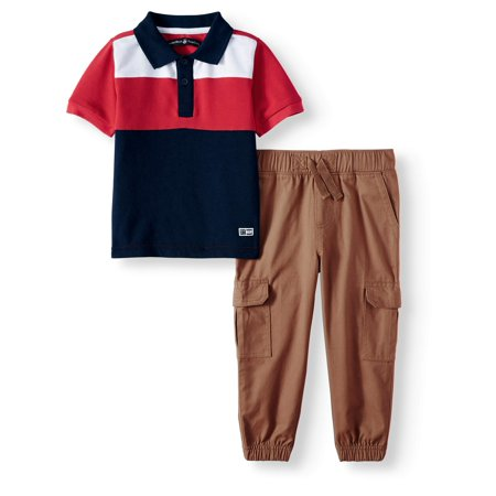 Toddler Boys' Pique Colorblock Polo, Twill Drawstring Jogger, 2-Piece Outfit Set](Joker Outfit)