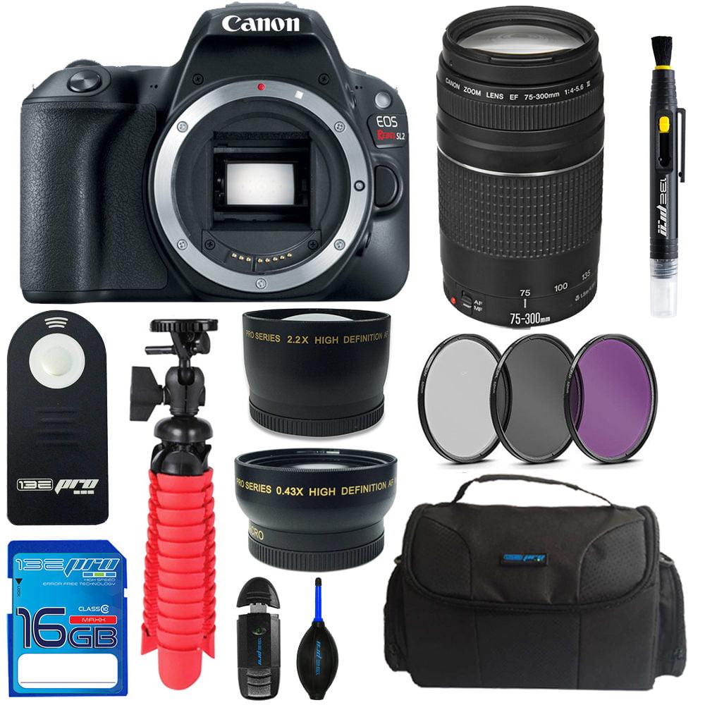 Canon EOS Rebel 200D/SL2 DSLR Camera (Black) + Canon 75-300mm III Lens + Pixi Basic Bundle Kit