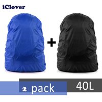 2PCS 30-40L Adjustable Waterproof Rainproof Backpack Raincover Dust Snow Cover IClover Black & Blue