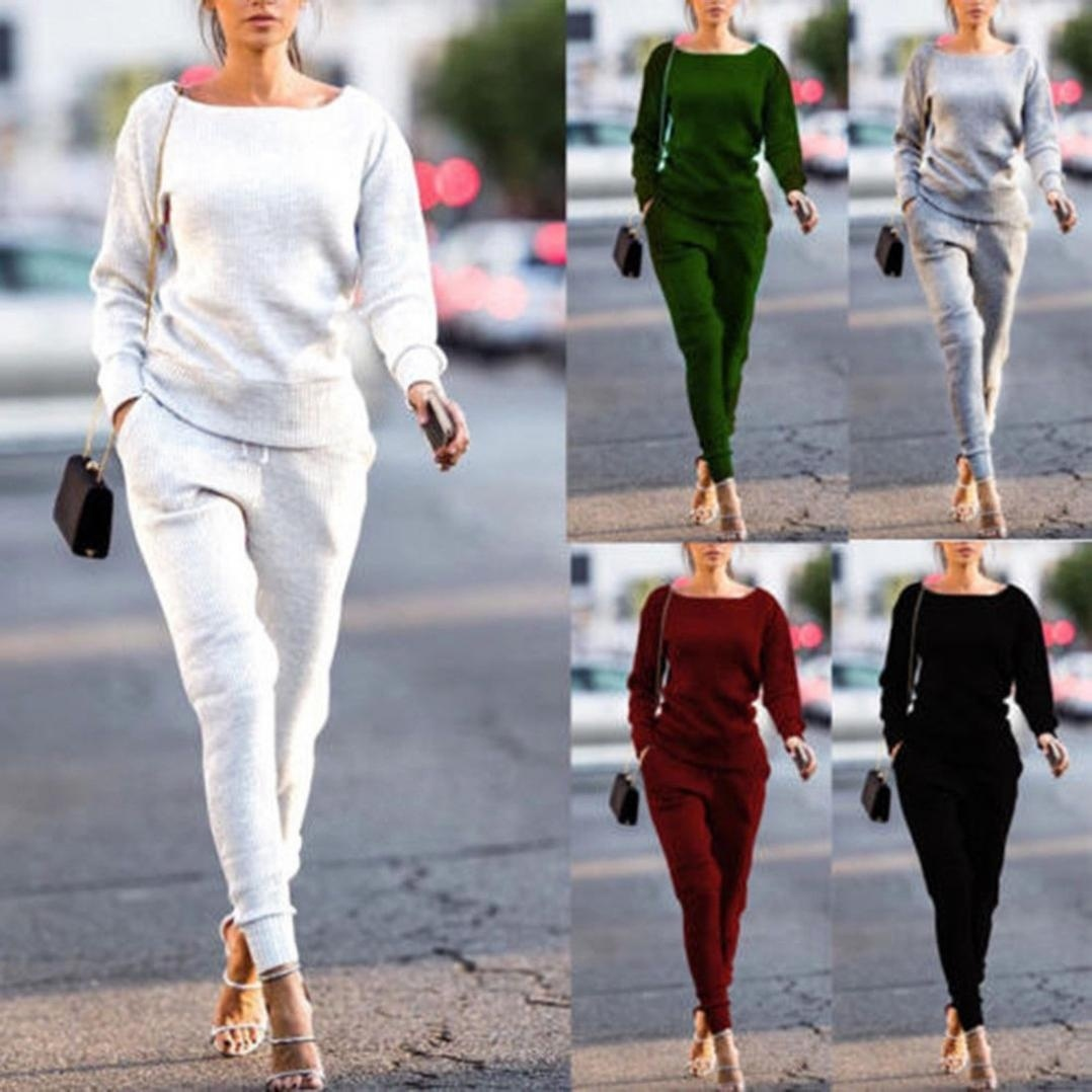 Women 2pcs Hoodies Sweatshirt Pants Sets Casual Tracksuit Jogging Gym Sport Suit