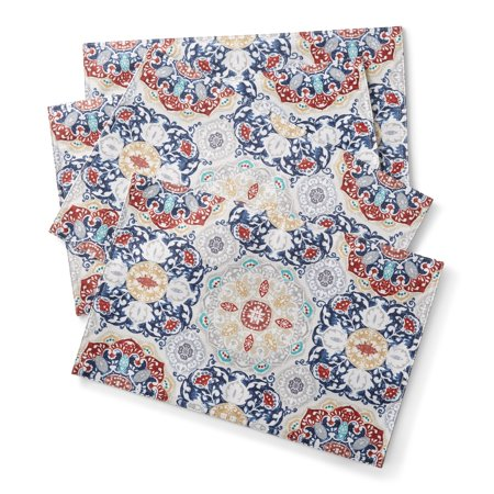 Mainstays Painted Tile Heat Transfer Engineered Placemats, Set of 4 ()