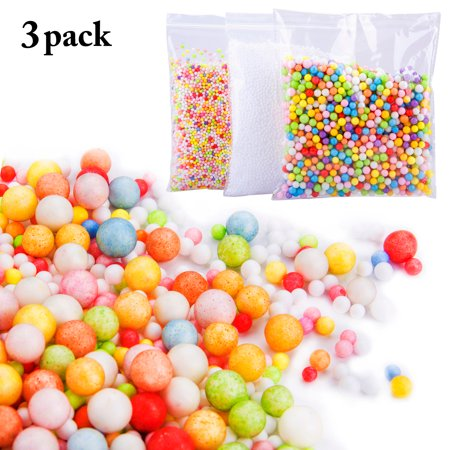 Styrofoam Balls, 3 Pack 0.08-0.15 Inch Colorful Foam Balls Mini Foam Balls for Slime Making Floral Decoration White and Mixed Color (Colorful Balls)