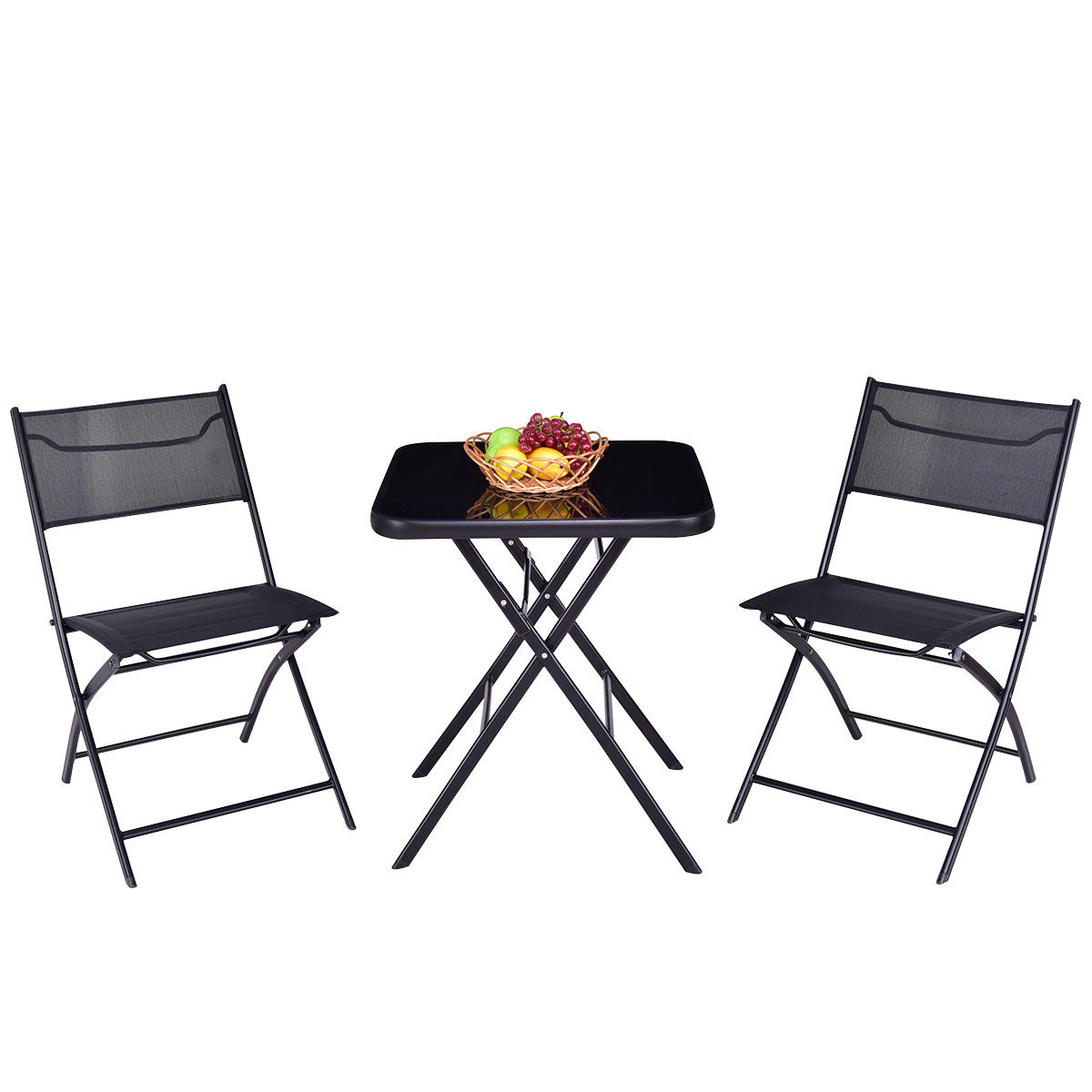 GHP Outdoor 3-Pcs Black Sturdy Durable Steel Folding Square Table and Chairs Set