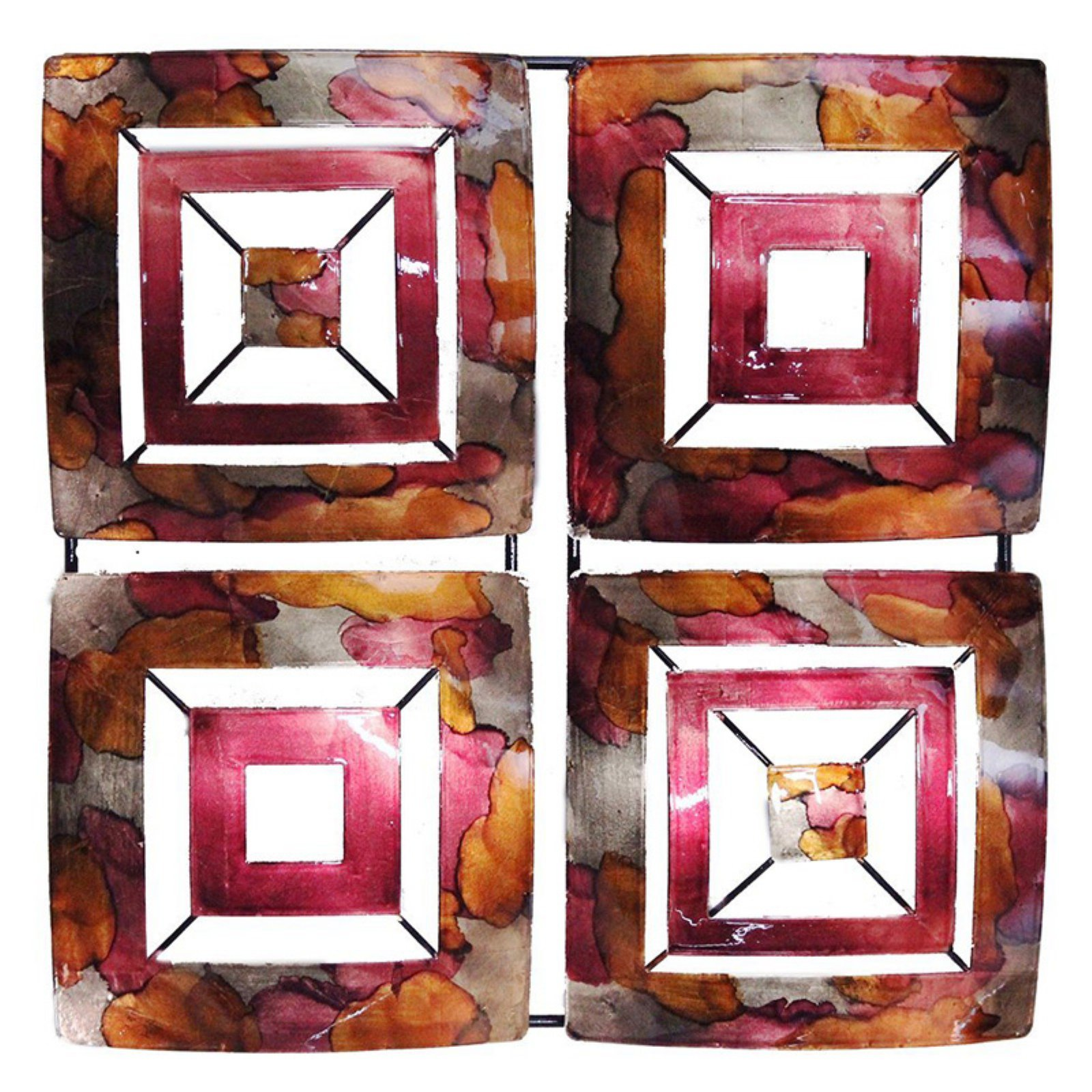Heather Ann Creations 4 Abstract Geometric Square Panel Modern Metal Hanging Wall Sculpture