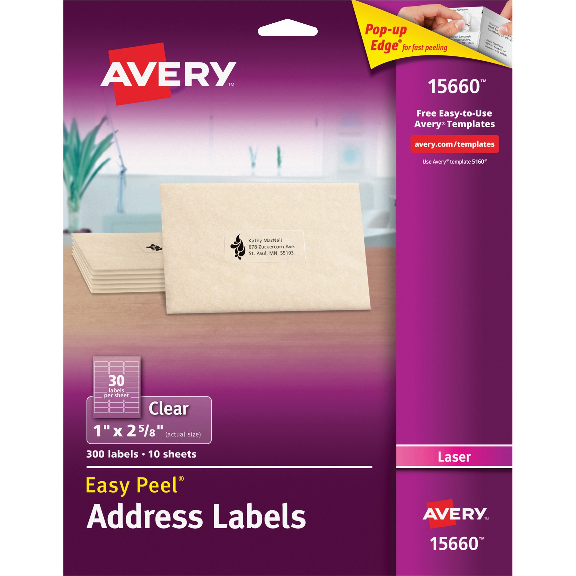 Avery Matte Clear Easy Peel Address Labels, Laser, 1 x 2 5/8, 300/Pack