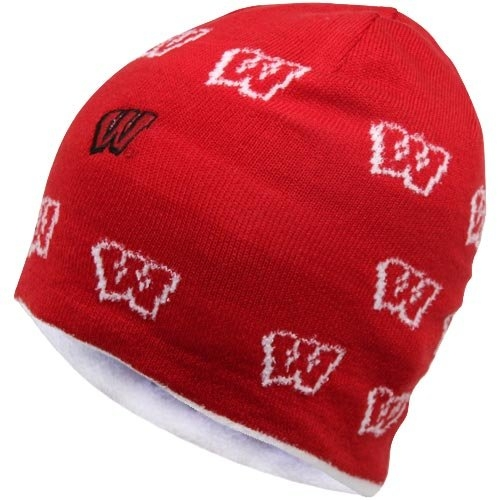 NCAA adidas Wisconsin Badgers Ladies Allover Logo Reversible Knit Hat True Cardinal  Cream by Adidas