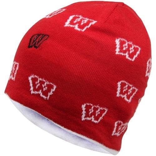 NCAA adidas Wisconsin Badgers Ladies Allover Logo Reversible Knit Hat - True Cardinal/ Cream